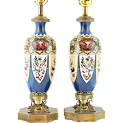 "LAYAWAY Grandest Antique 21"" Cloisonné Table lamps ""A PAIR ""  ~  The  Lamps are Mounts on Ornate Figural Ormolu Plateaus &  Excellent Safe Wiring ~"