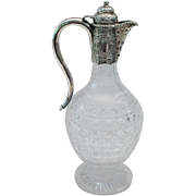 Victorian Silver & Cut Glass Wine Claret Jug ~ Baluster Shaped Cut Glass with Magnificent Ornate Silver Mount ~  Very Fine Engraved & Hinged Domed Lid Fully Hallmarked English Silver