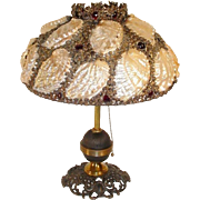 "Glorious Antique Jeweled Shell Lamp ""The Most Beautiful Lamp! ""   ~ 19 Big Shells in an AWESOME Flower Ormolu Shade &  Scattered ¾"" Faceted Cut Ruby Crystal Gems ~"