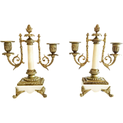 Beautiful Antique Bronze Alabaster Double Light Candelabras  ~ Columns &  Footed Bases. ~  EXQUISITE Candelabras from My Treasure Vault.
