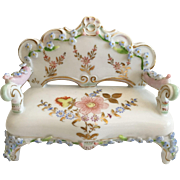 Miniature  Rococo Style Porcelain Settee in the Manner of Meissen Elfinware