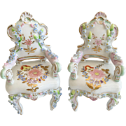Pair Miniature  Rococo Style Porcelain Chairs  in the Manner of Meissen Elfinware