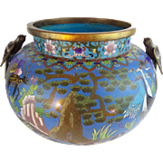 LAYAWAY  Antique Chinese Cloisonné' Jardinière Cachepot with FABULOUS Bird Han d~ CIRCA: Late 19th Century ~