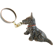 Antique  Scottie Terrier Magnifying Glass Paper Weight  ~ DELIGHTFUL ~