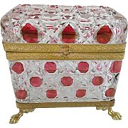 MAGNIFICENT Antique Red Cut to Clear Casket Hinged Box with Paw Feet ~ Circa 1900 ~  Exquisite Fancy Base with Paw Feet.