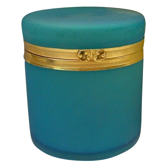 "LAYAWAY Antique French Teal Opaline Casket Hinged Box  ""BIG"""