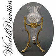 "Antique French Crystal Posey Holder Vase "" Dore Bronze Stand"""