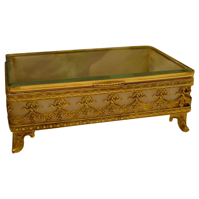Antique French Bronze Onyx Casket Hinged Box.