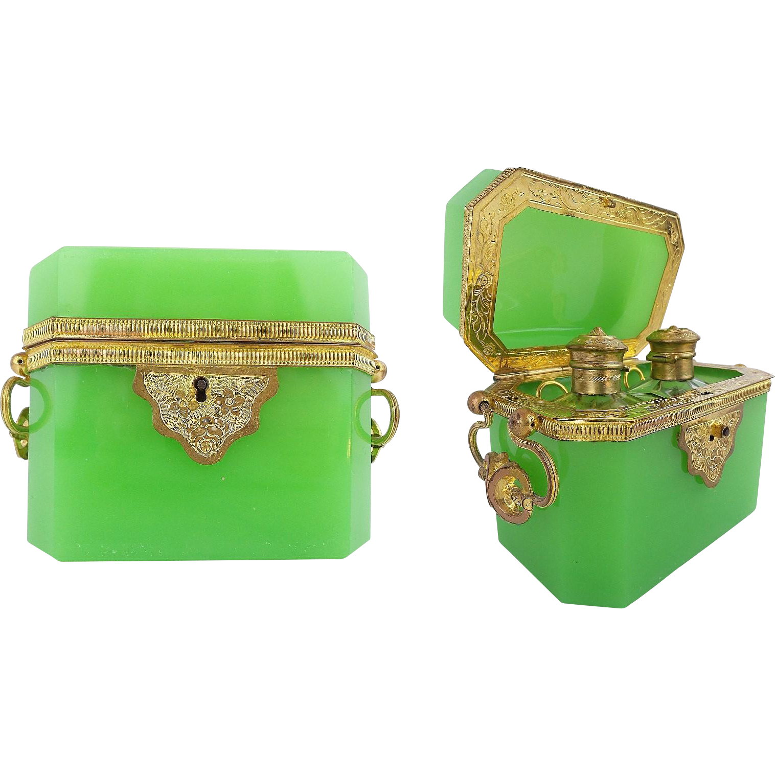 "Antique French Green Opaline Scent Casket""MAGNIFICENT"""