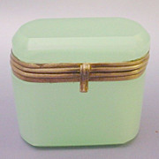 Antique Bohemian Green Opaline Hinged Box