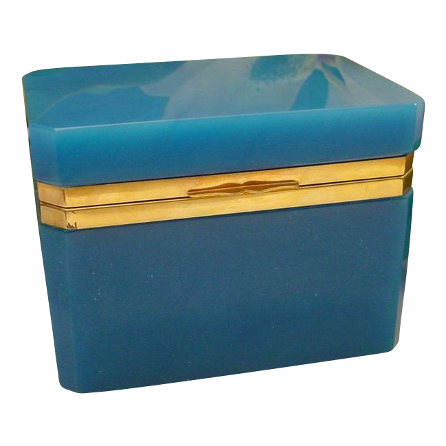 Antique  Turquoise Opaline Casket Hinged Box