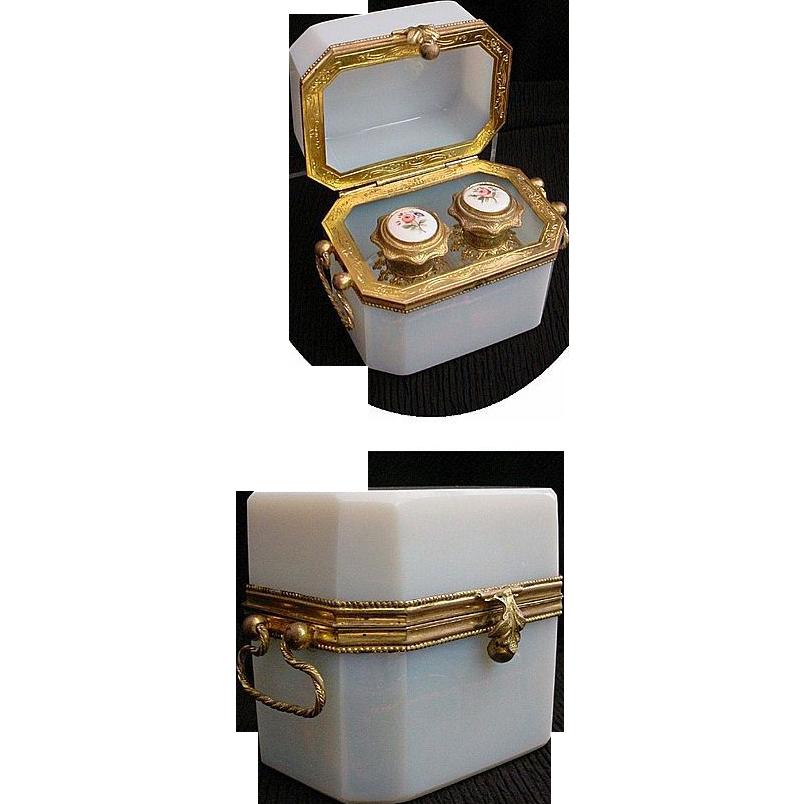 """Antique French Bulle de Savon Opaline Scent Casket """"Double Handle"""""""