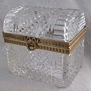 "Antique French Dome Top Crystal Casket ""TRUNK Shape"""