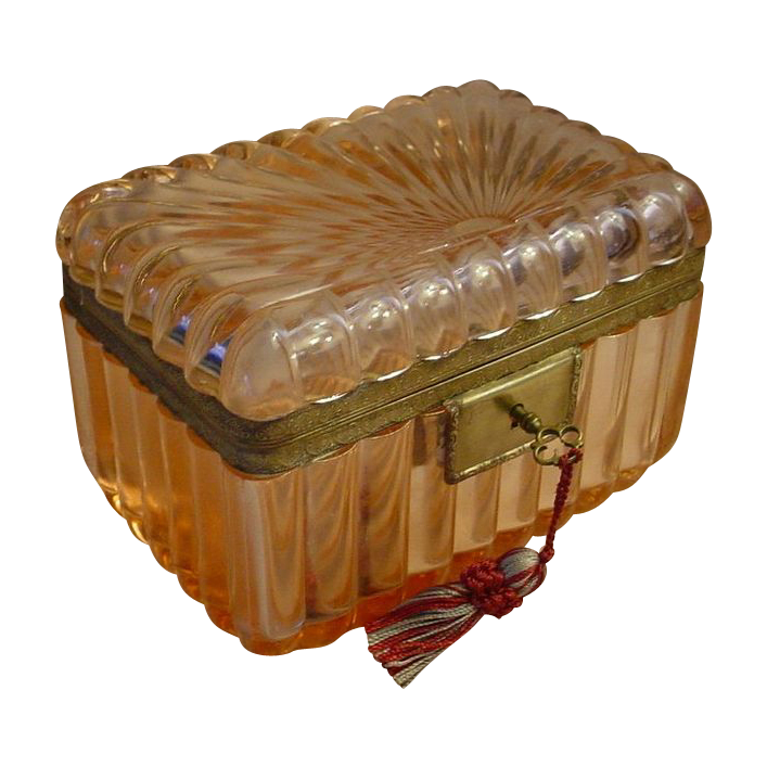 Antique French Pink Crystal Casket Hinged Box