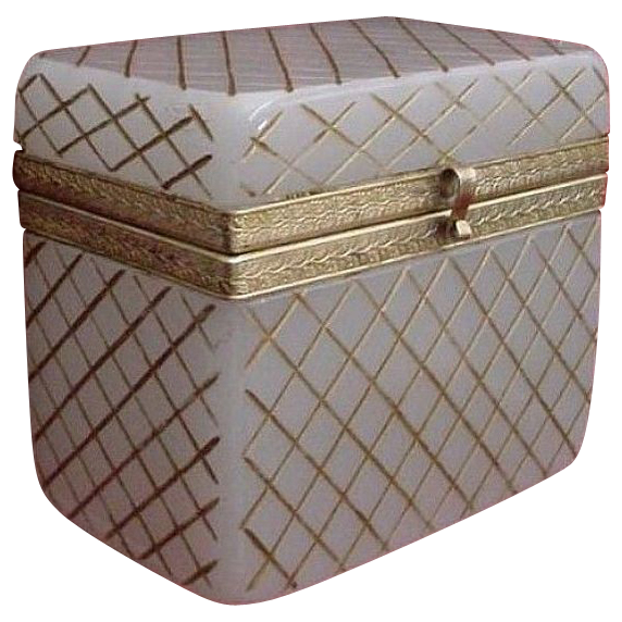Stunning Antique French White Opaline Casket