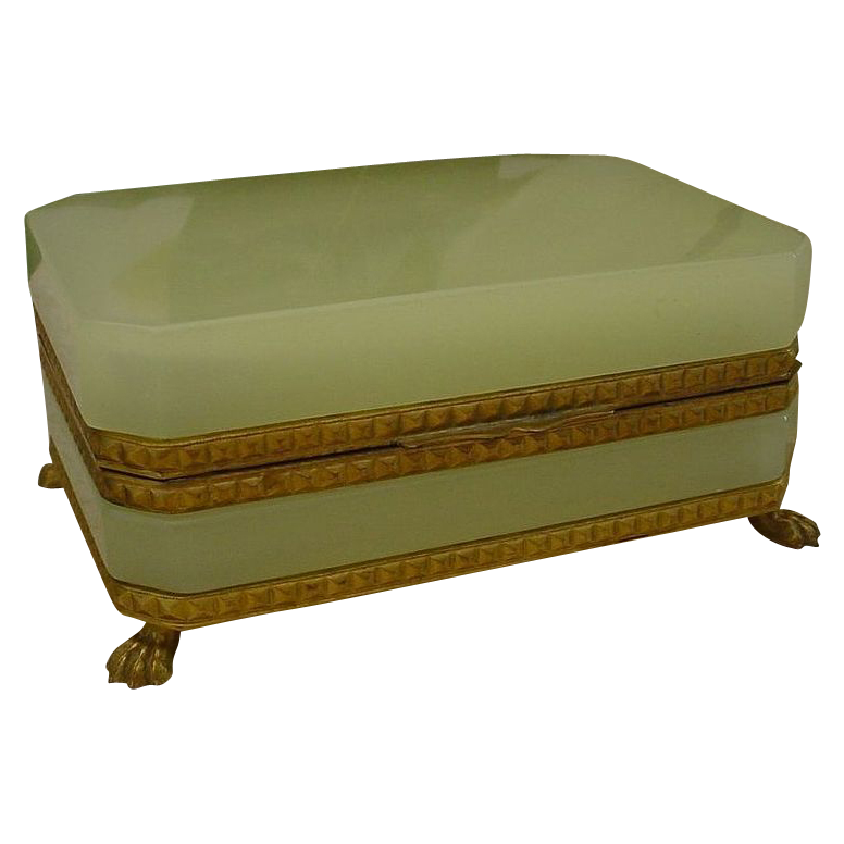 "Magnificent Antique French Yellow Green Opaline Casket Hinged Box""Paw Feet"""
