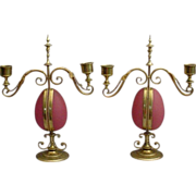 "Antique Opaline Candelabras Watch holders ""RARE & MAGNIFICENT"""