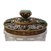 "Gorgeous Antique Austrian Jeweled Cut Crystal Box ""FAB Enamel"""