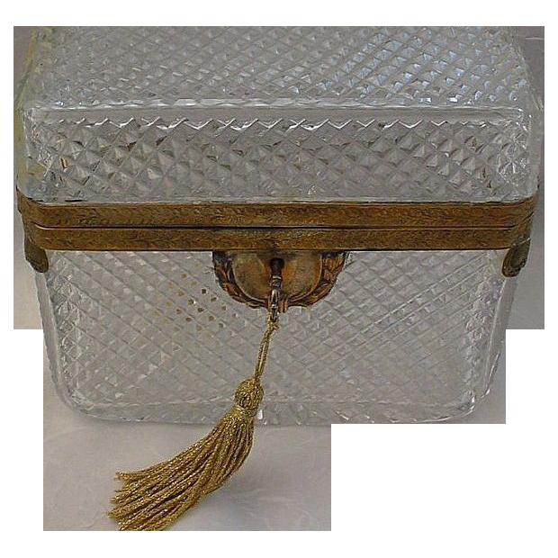 Big Antique French Crystal Casket