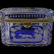 Grandest Antique Bohemian Cobalt Cut to Clear Casket