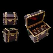 "NEW PICTURES Spectacular Antique Bohemian Ruby Scent Casket   "" TRUNK Shape"""