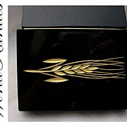"""Antique French Black Opaline Hinged Box  """"Deco and  Gorgeous"""""""