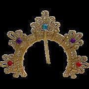 1950 Tiny Jeweled Bronze Filigree Halo