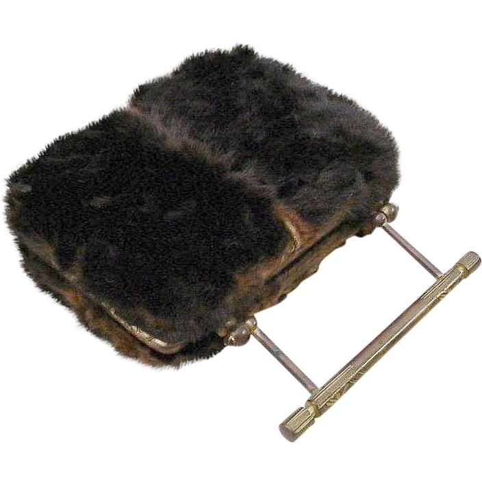 "Antique  French Fur Purse   "" Adorable  Gilt Bronze """