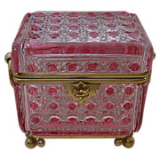 Grandest Antique Baccarat Cranberry  Crystal Casket