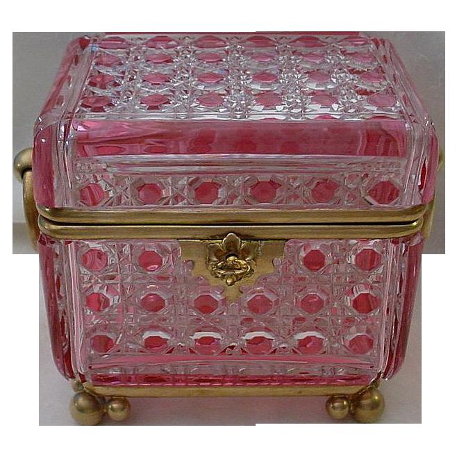 Grandest Antique Baccarat Cranberry  Crystal Casket