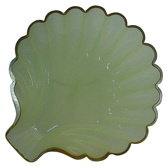 "Awesome Antique  French Green Opaline Shell Shape Bowl""BIG"""