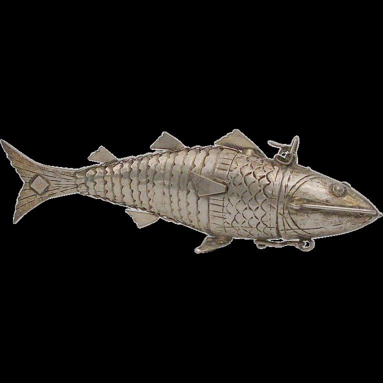 Antique Silver Fish Etui