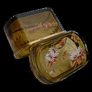 "Antique Bohemian Amber Casket  "" VF Enameled Flowers"""