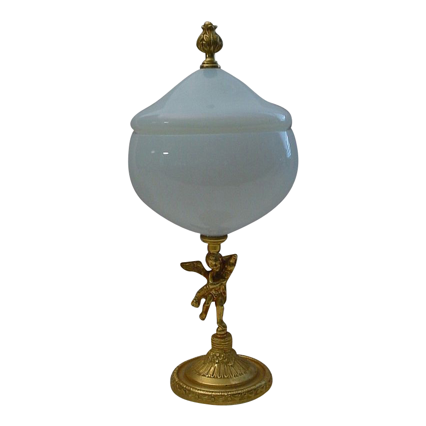 "Exquisite  French ""Bulle de Savon"" Opaline Box with  Dore' Putti Pedestal"