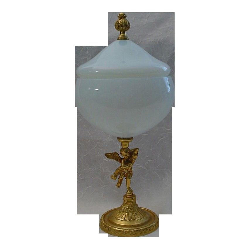 "Exquisite  French ""Bulle de Savon"" Opaline Box with  Dore' Putti Pedestal"
