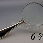 "6 ¾"" Antique English Tortoise and Silver Magnify Glass"