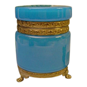 "Magnificent Antique French Blue Opaline Casket Hinged Box  "" PAW FEET"""