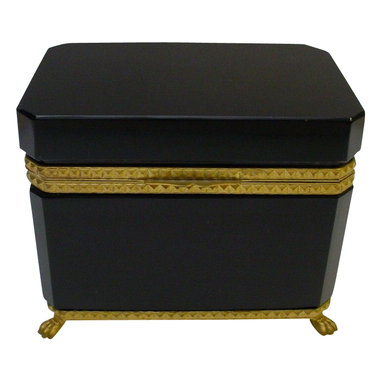 "Beautiful Antique French Black Opaline Casket Hinged Box  ""PAW FEET"""