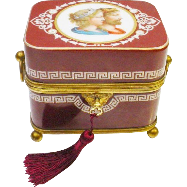 "Grandest 7 ½""  Antique French Opaline Figural Hinged Box"