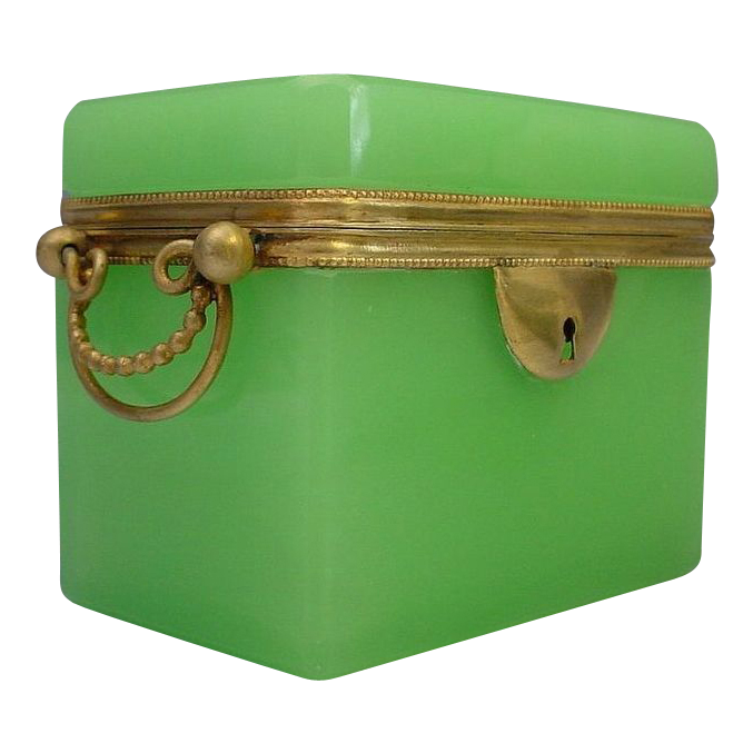 "Antique French Green Opaline Double Handle  Casket Hinged Box  ""RARE GREEN"""
