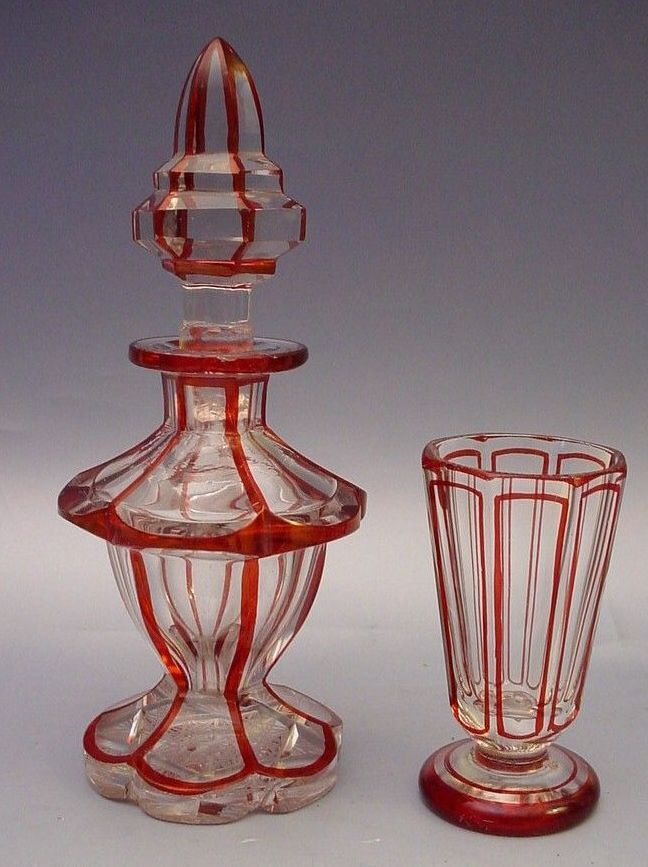 Antique Bohemian Red Cut to Clear Miniature Decanter and Glass