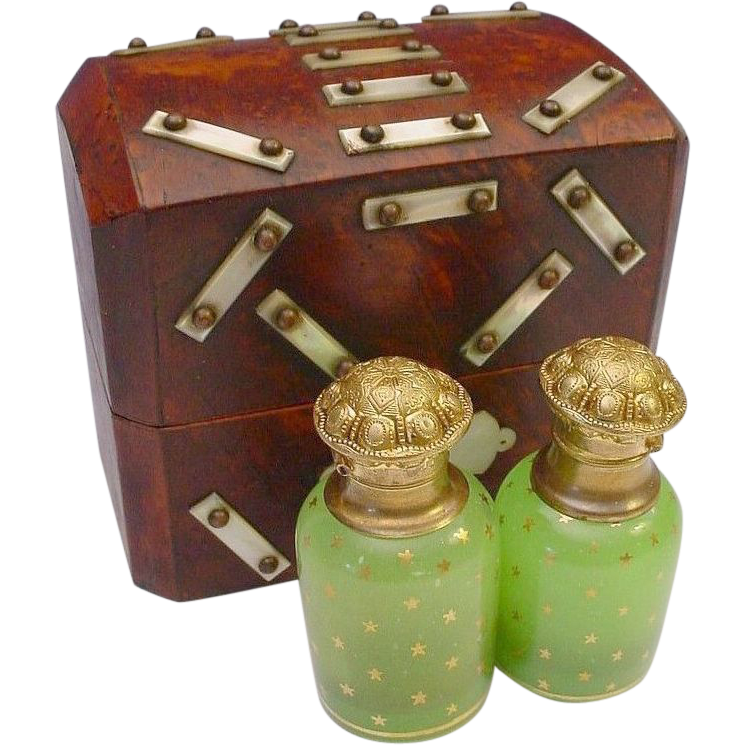 "Antique Burl Wood Scent Caddy ""Magnificent"""