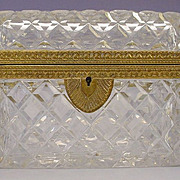 Antique French Cut Crystal Jewelry Casket Hinged Box