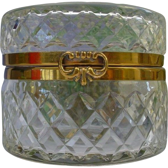Antique French Round Cut Crystal Hinged Box