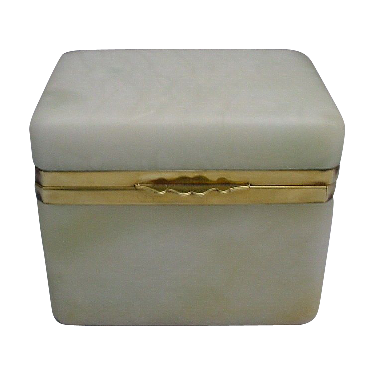 Beautiful Antique French Alabaster Hinged Box