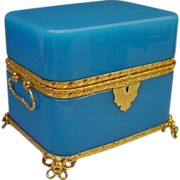 "Grandest Antique French Double Handle Blue Opaline Casket ""BIG and BEAUTIFUL!"""