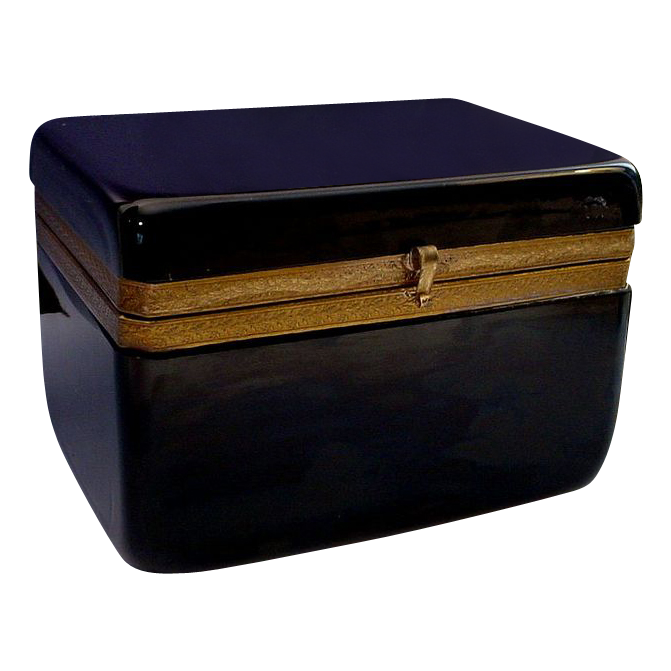 Antique French Black Opaline Hinged Box Casket