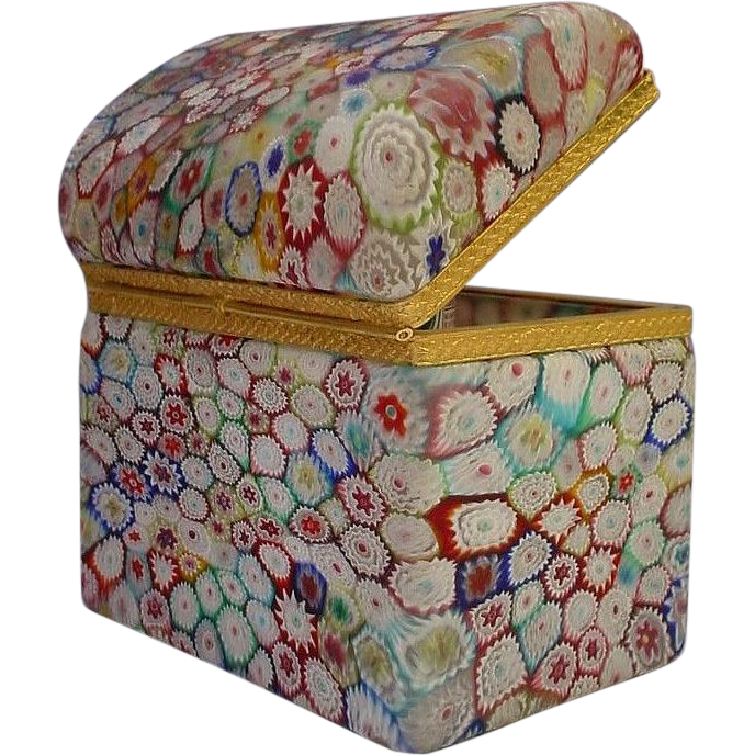 "Millefiori  Dome Top Casket Hinged Box ""Fabulous"""