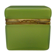"Antique French Satin Glass Casket  "" YUMMY KIWI GREEN """