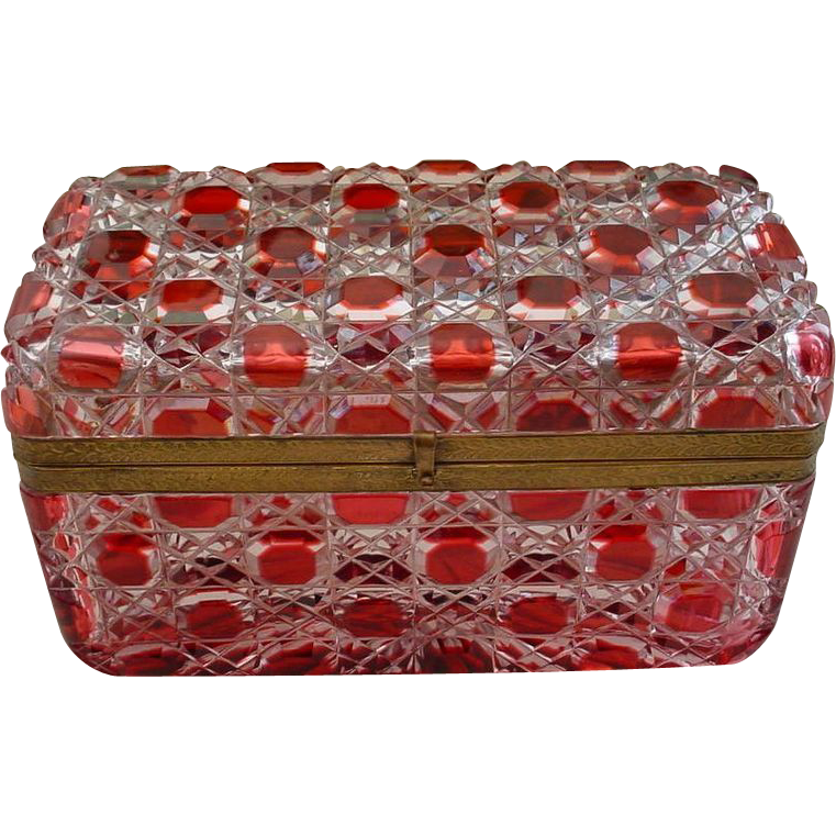 "8"" Glorious  Antique  Baccarat  Red Cut to Clear Casket Hinged Box "" BIG"""